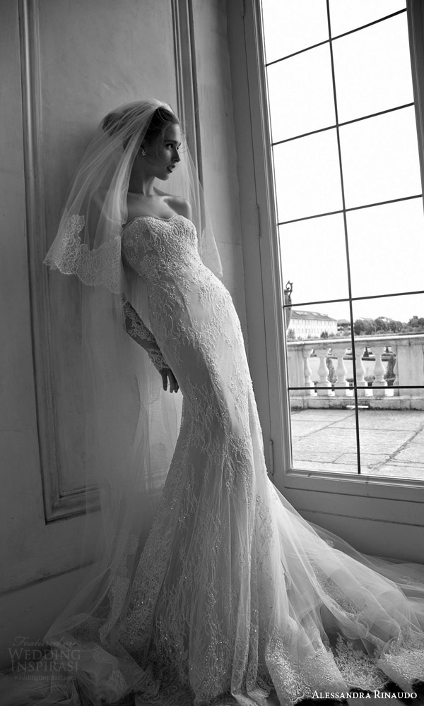 alessandra rinaudo bridal 2016 trudy strapless sweetheart sheath trumpet wedidng dress beaded lace detached illusion sleeves gloves