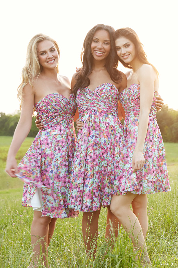 93d9a5f552 allure bridals capsule blossom bridesmaids collection straples floral print bridesmaid  dresses style 1439