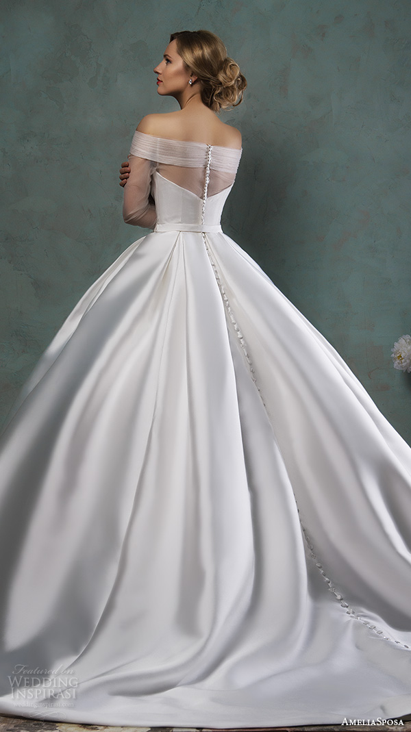 Amelia Sposa 2016 Wedding Dresses Off The Shoulder Tulle Neckline Three Quarter 3 4 Sleeves Beautiful