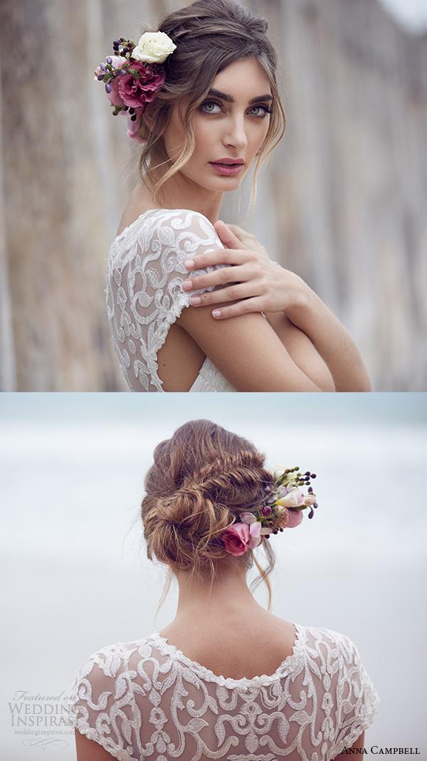 anna campbell 2015 bridal dresse cap sleeves jewel neckline illusion lace neckline pretty a line wedding dress scarlett close up