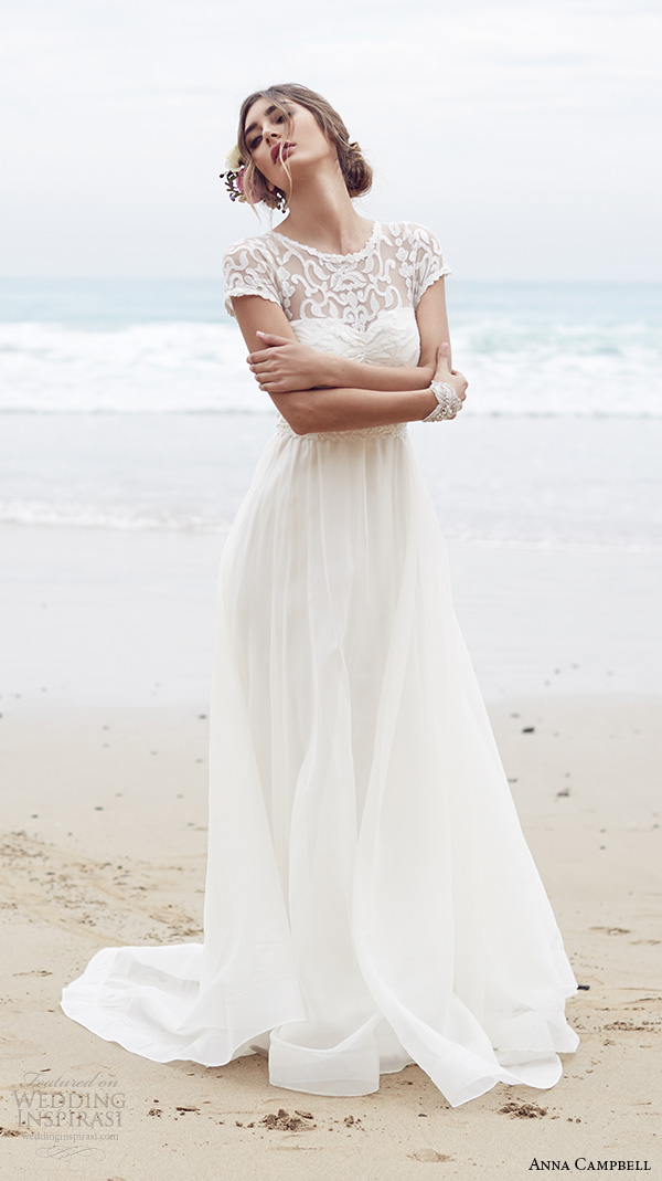 anna campbell 2015 bridal dresse cap sleeves jewel neckline illusion lace neckline pretty a line wedding dress scarlett