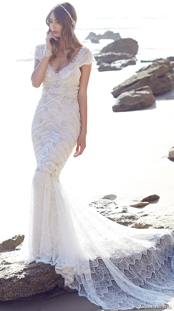 anna campbell 2015 bridal dresse cap sleeves scoop neckline beaded bodice romantic fit to flare mermaid wedding dress coco