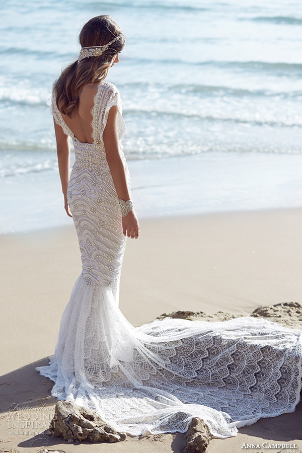 anna campbell 2015 bridal dresse cap sleeves scoop neckline beaded bodice stunning fit to flare mermaid wedding dress coco back view