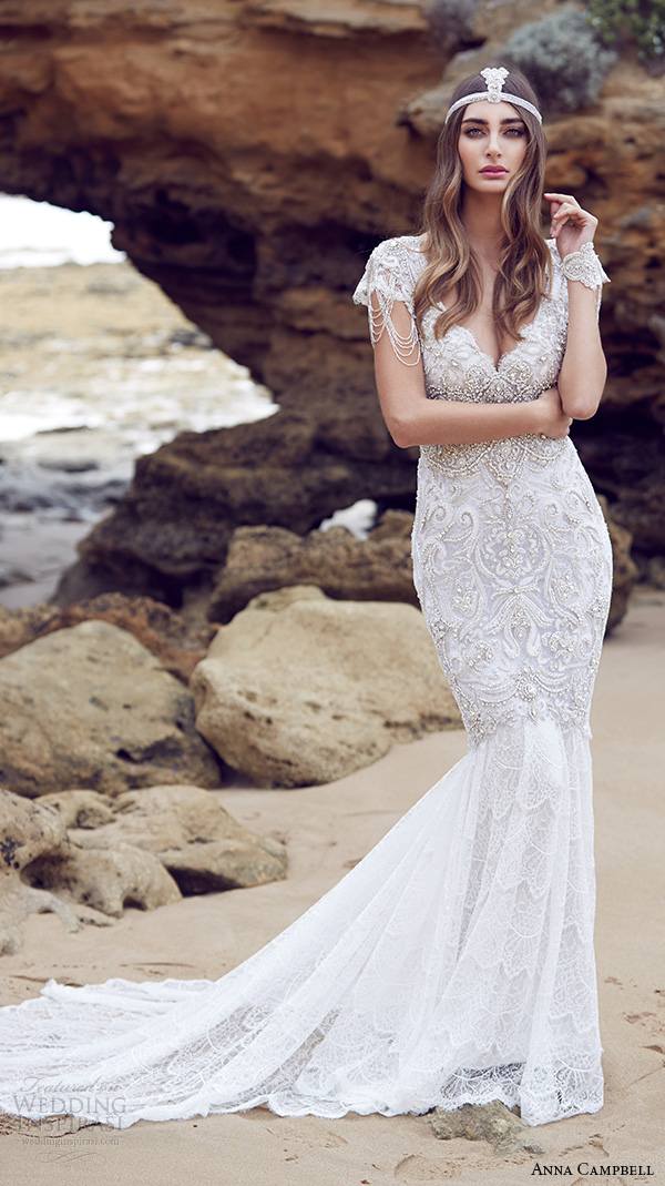 anna campbell 2015 bridal dresse cap sleeves v neckline beaded embellished bodice gorgeous fit to flare mermaid wedding dress sierra