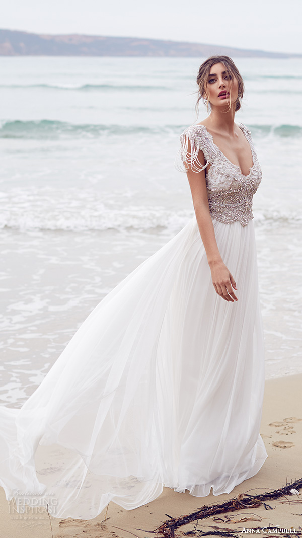 Anna Campbell 2015 Bridal Dresse Cap Sleeves V Neckline Beaded Embellished Bodice Pretty Wedding Dress With
