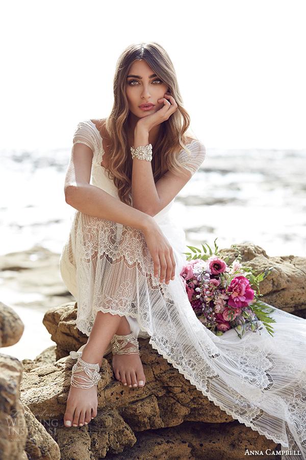 anna campbell 2015 bridal dresse lace strap sweetheart neckline stunning sheath wedding dress lilly