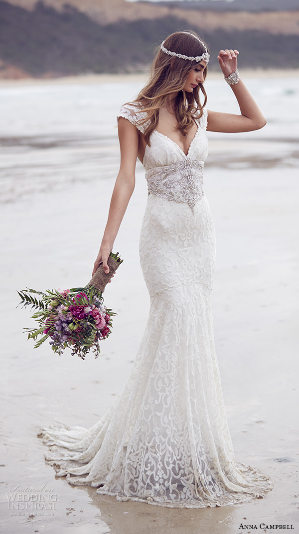 anna campbell 2015 bridal dresse lace strap v neckline embellished bodice beautiful trumpet mermaid wedding dress ebony