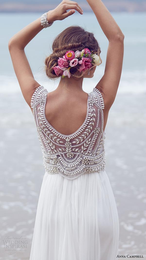 anna campbell 2015 bridal dresse sleeveless scoop neckline embellished boeidce silk tulle romantic wedding dress madison back view close up
