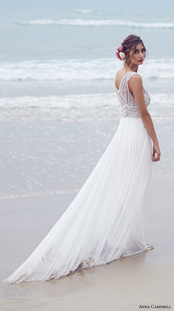 anna campbell 2015 bridal dresse sleeveless scoop neckline embellished boeidce silk tulle romantic wedding dress madison side view