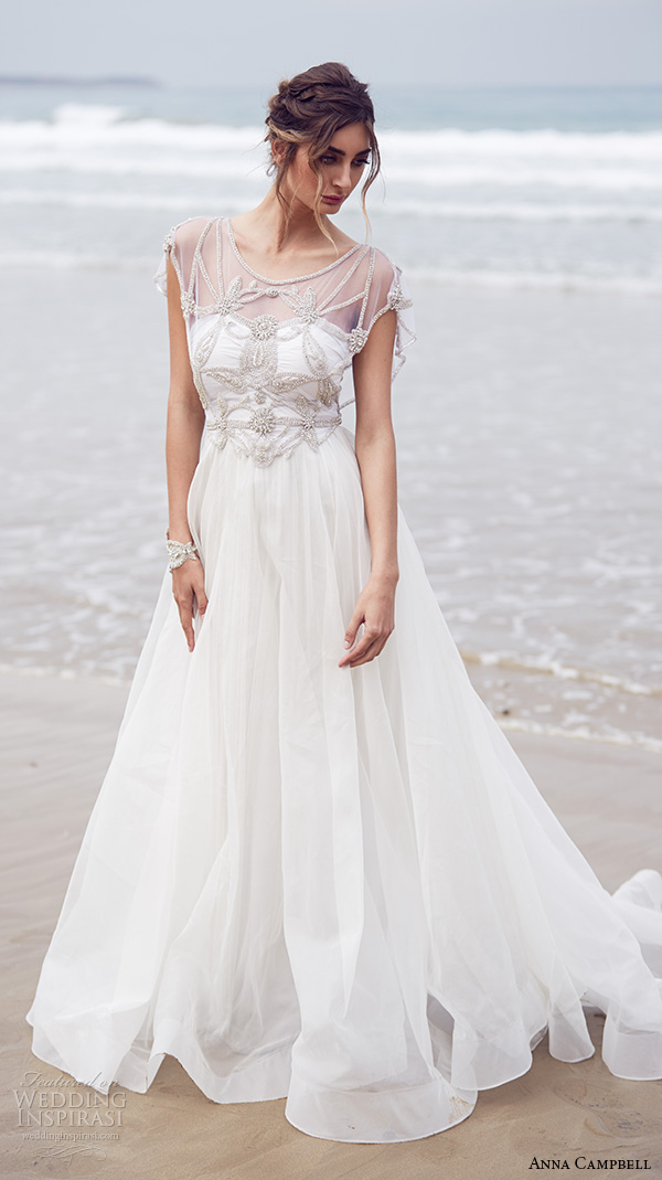 anna campbell 2015 bridal dresses beaded embroidery bodice scoop neckline cap sleeves a line wedding dress adelaide