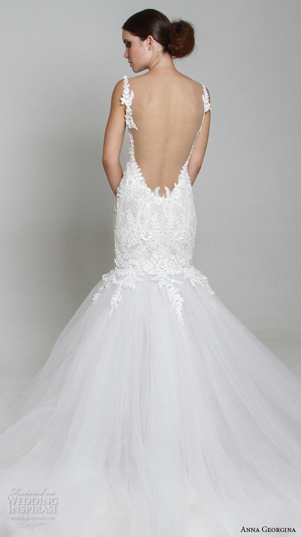 anna georgina 2015 bridal floral strap v neckline embroidery mermaid wedding dress tansey back view