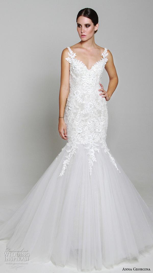 anna georgina 2015 bridal floral strap v neckline embroidery mermaid wedding dress tansey