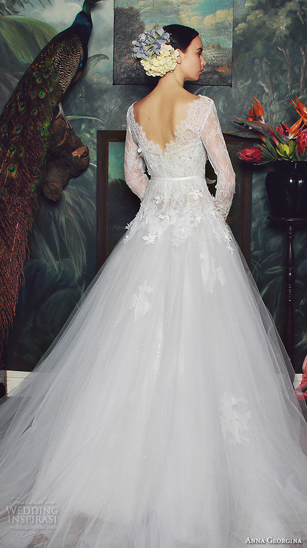 anna georgina 2015 bridal lace long sleeves bateau neckline floral embroidery lace bodice tulle skirt ball gown wedding dress jade back view