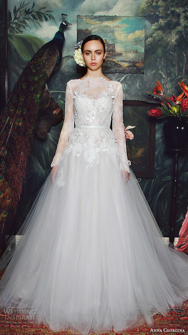 anna georgina 2015 bridal lace long sleeves bateau neckline floral embroidery lace bodice tulle skirt ball gown wedding dress jade