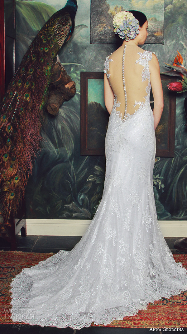 anna georgina 2015 bridal lace strap v neckline fit to flare mermaid wedding dress naomi back view