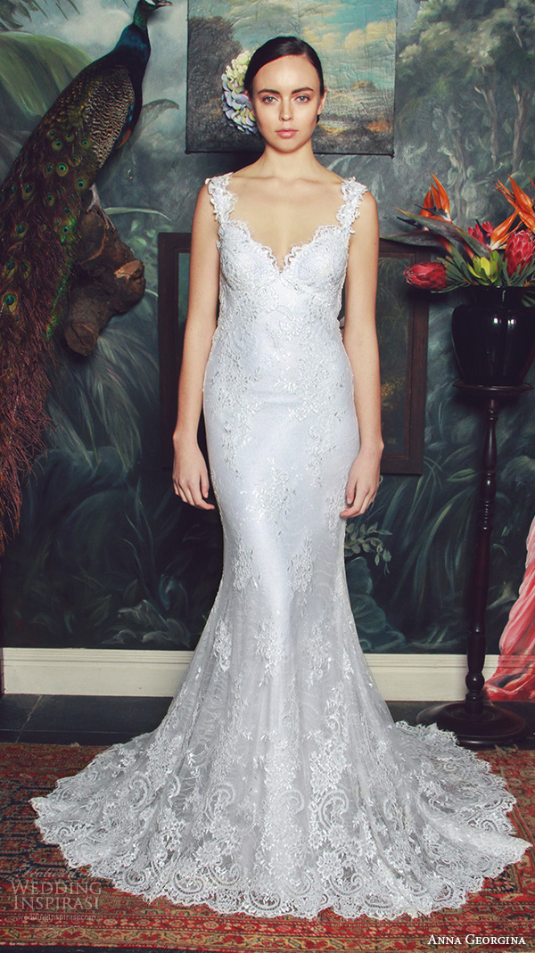 anna georgina 2015 bridal lace strap v neckline fit to flare mermaid wedding dress naomi
