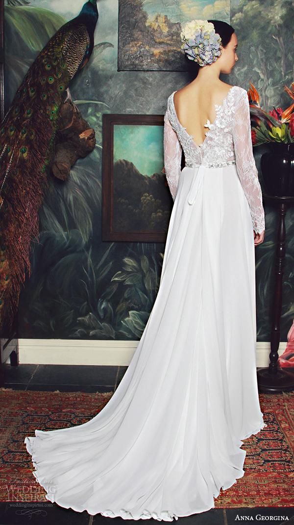 anna georgina 2015 bridal plunging v neckline lace long sleeves floral leaf embroidery bodice high slit sheath wedding dress annocha back view