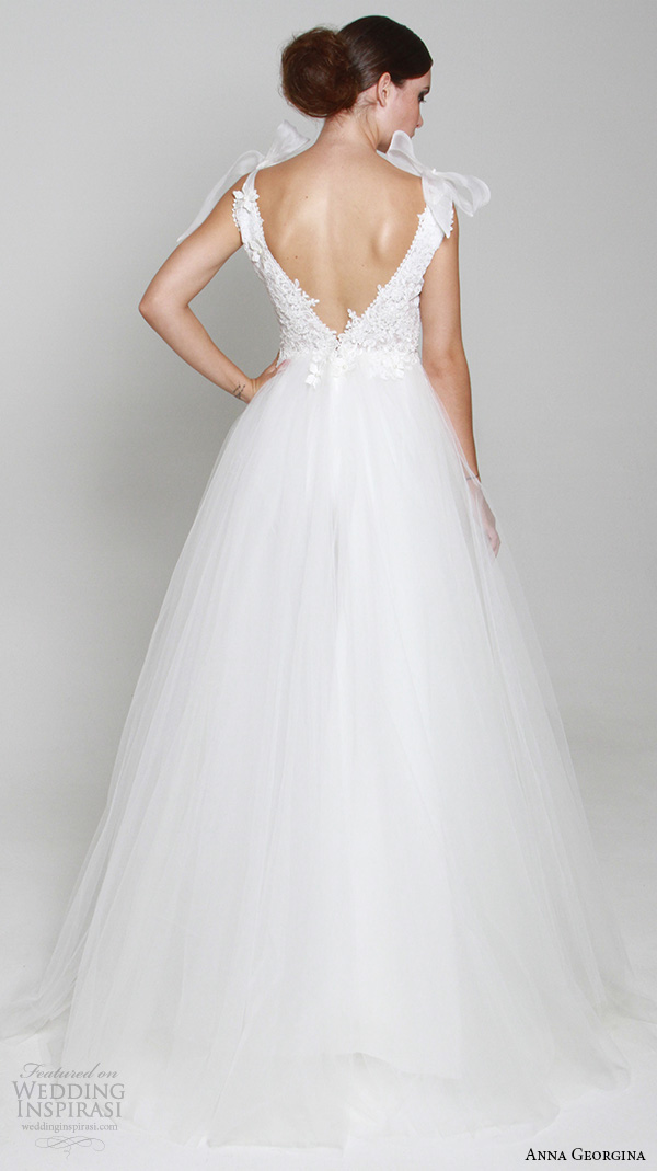 anna georgina 2015 bridal plunging v neckline ribbon tied straps embroidery bodice tulle skirt ball gown wedding dress athene back view