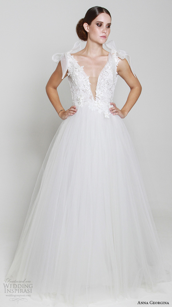 anna georgina 2015 bridal plunging v neckline ribbon tied straps embroidery bodice tulle skirt ball gown wedding dress athene