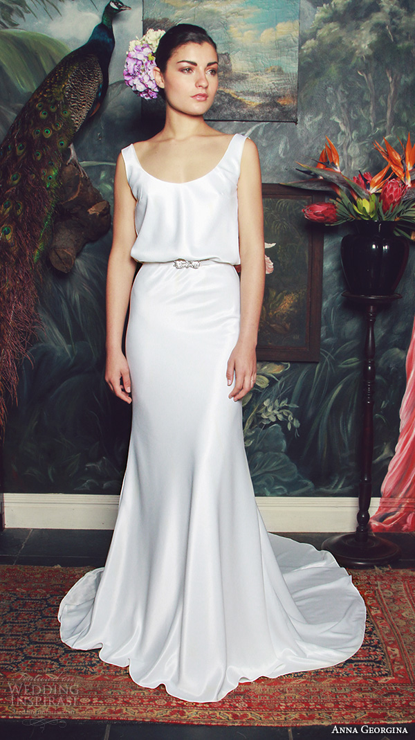 anna georgina 2015 bridal scoop neckline with straps blouson sheath wedding dress elisabeth