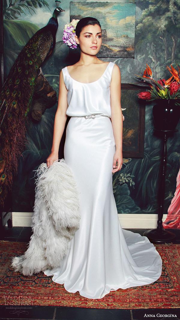 anna georgina 2015 bridal scoop neckline with straps blouson sheath wedding dress with coat elisabeth
