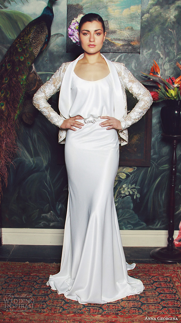 anna georgina 2015 bridal scoop neckline with straps blouson sheath wedding dress with jacket elisabeth