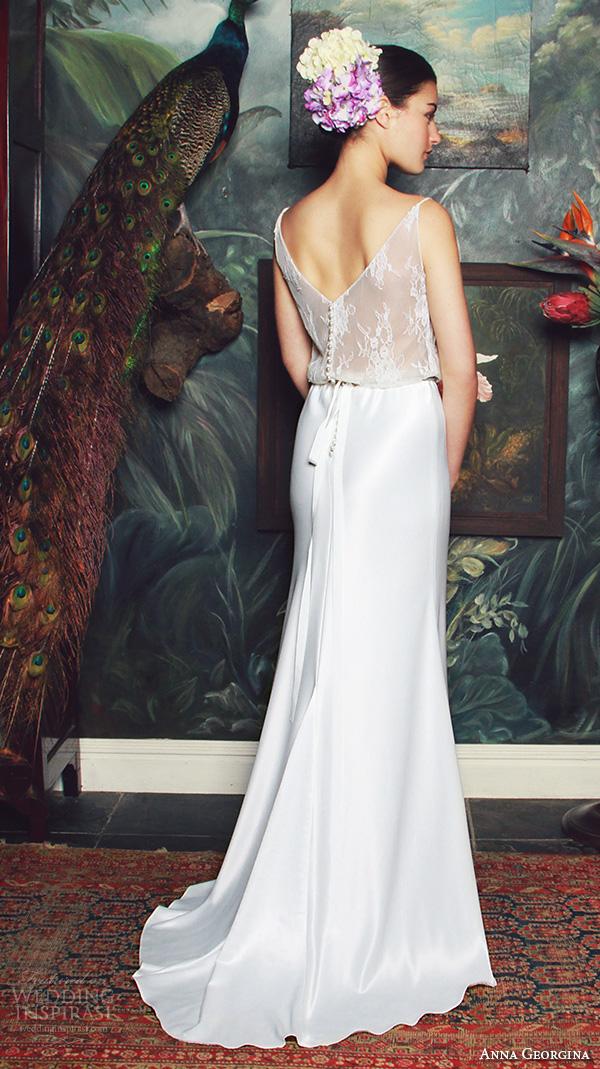 anna georgina 2015 bridal spagetti scoop neckline floral embroidery see through bodice sheath wedding dress bianca back view