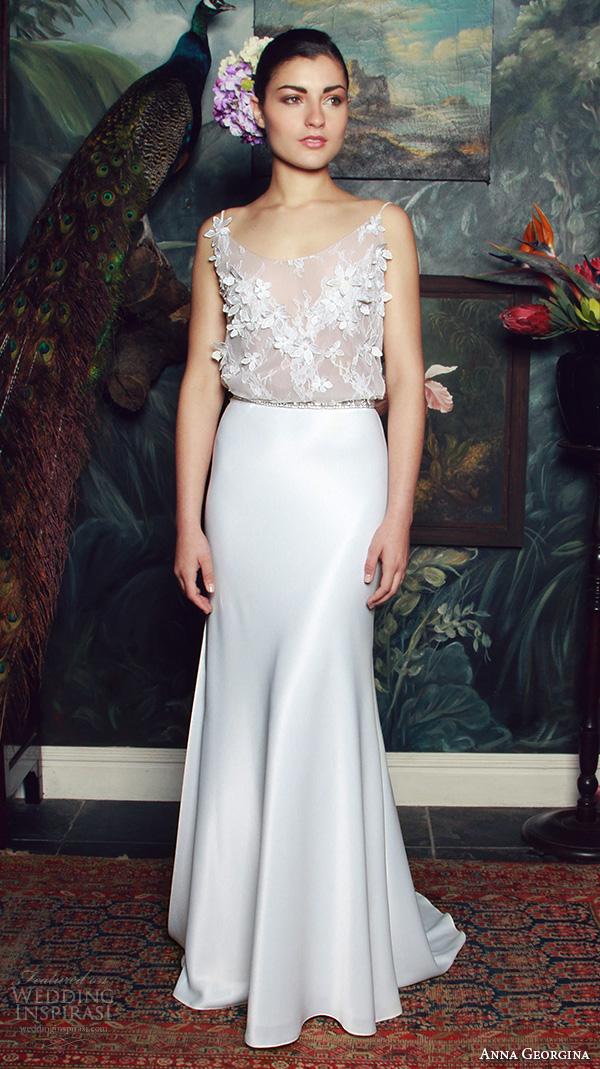 anna georgina 2015 bridal spagetti scoop neckline floral embroidery see through bodice sheath wedding dress bianca