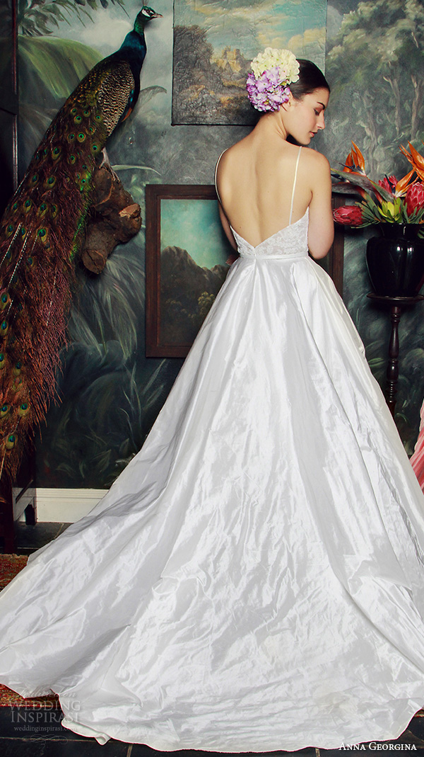 anna georgina 2015 bridal spagetti strap plunging neckline wedding ball gown dress caroline back view