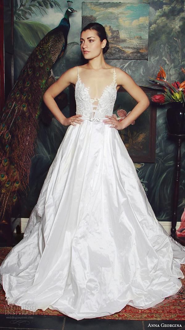 anna georgina 2015 bridal spagetti strap plunging neckline wedding ball gown dress caroline
