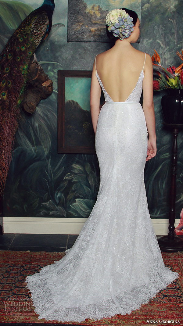 anna georgina 2015 bridal spagetti strap plunging v neckline floral embroidery bodice fit to flare mermaid wedding dress lana back view