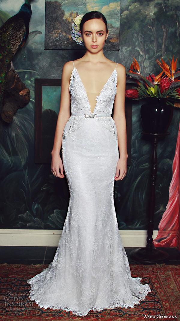 anna georgina 2015 bridal spagetti strap plunging v neckline floral embroidery bodice fit to flare mermaid wedding dress lana