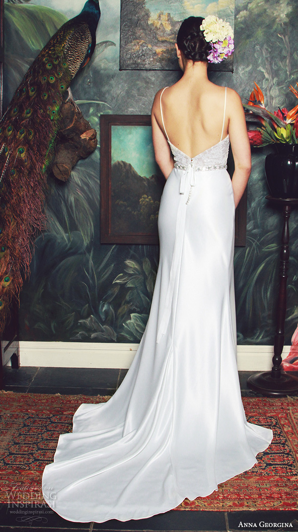 anna georgina 2015 bridal spagetti strap plunging v neckline floral embroidery satin skirt sheath wedding dress judith back view