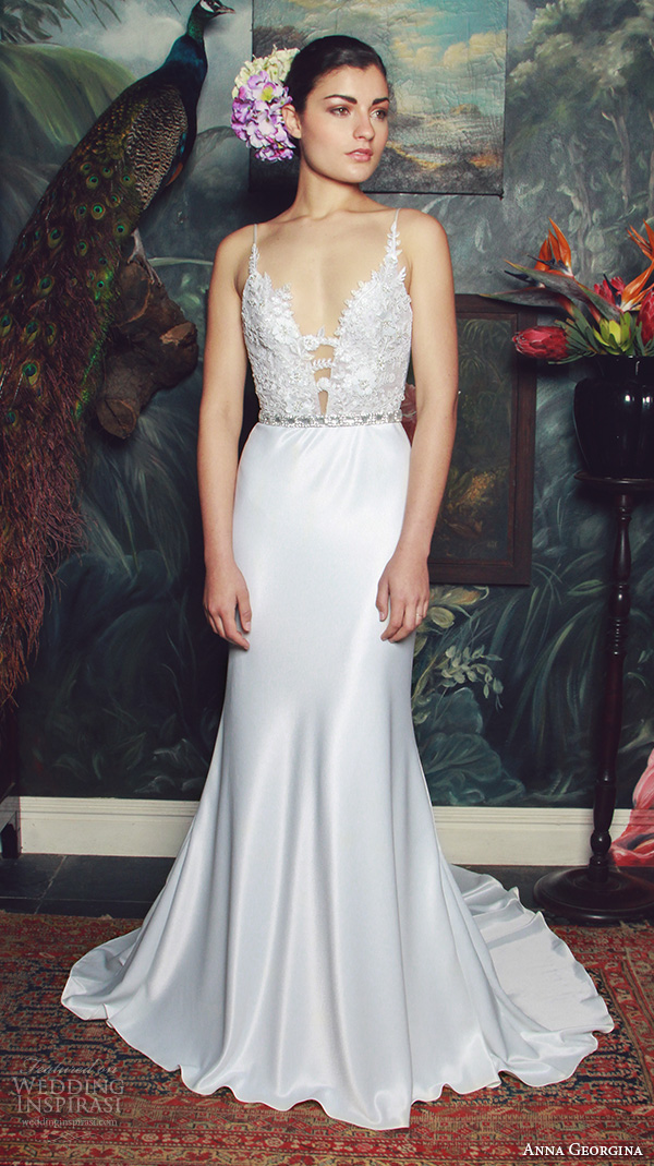 anna georgina 2015 bridal spagetti strap plunging v neckline floral embroidery satin skirt sheath wedding dress judith