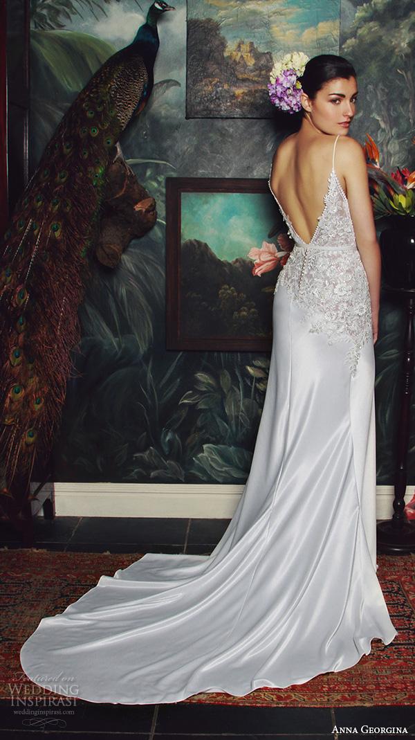anna georgina 2015 bridal spagetti strap v plunging neckline floral embroidery bodice sheath wedding dress irene back view