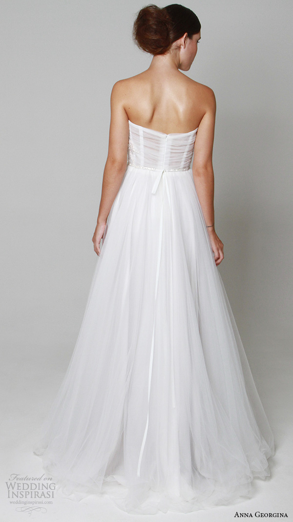 anna georgina 2015 bridal strapless semi sweetheart neckline tulle romantic a line wedding dress aphrodite back view