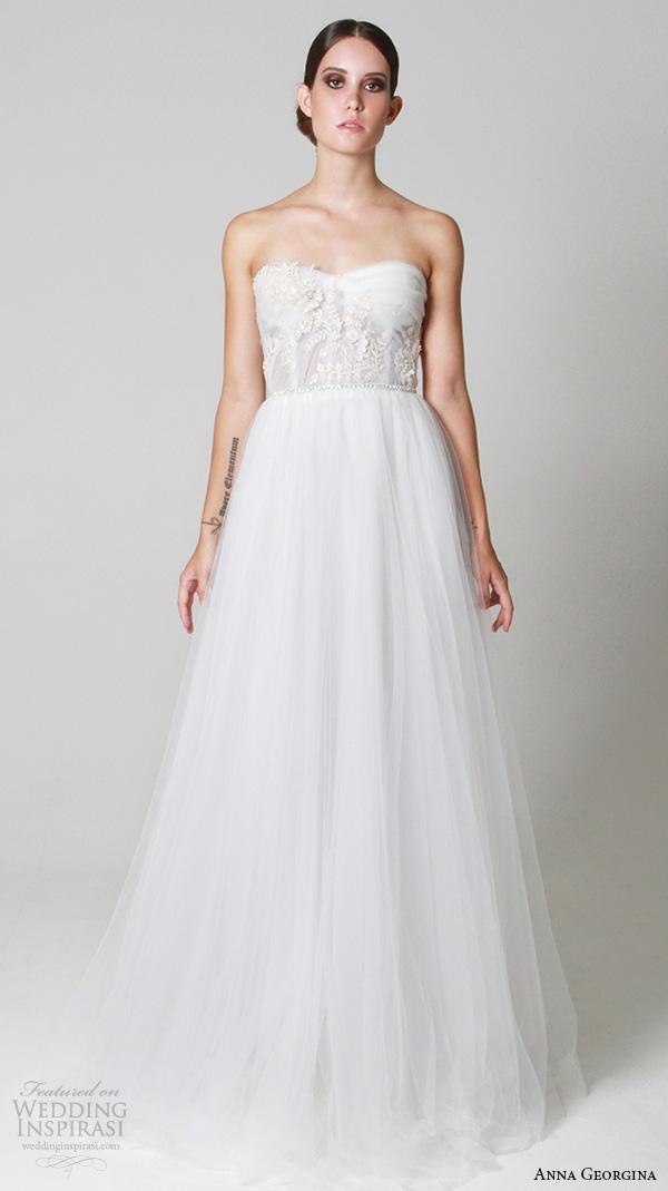 anna georgina 2015 bridal strapless semi sweetheart neckline tulle romantic a line wedding dress aphrodite