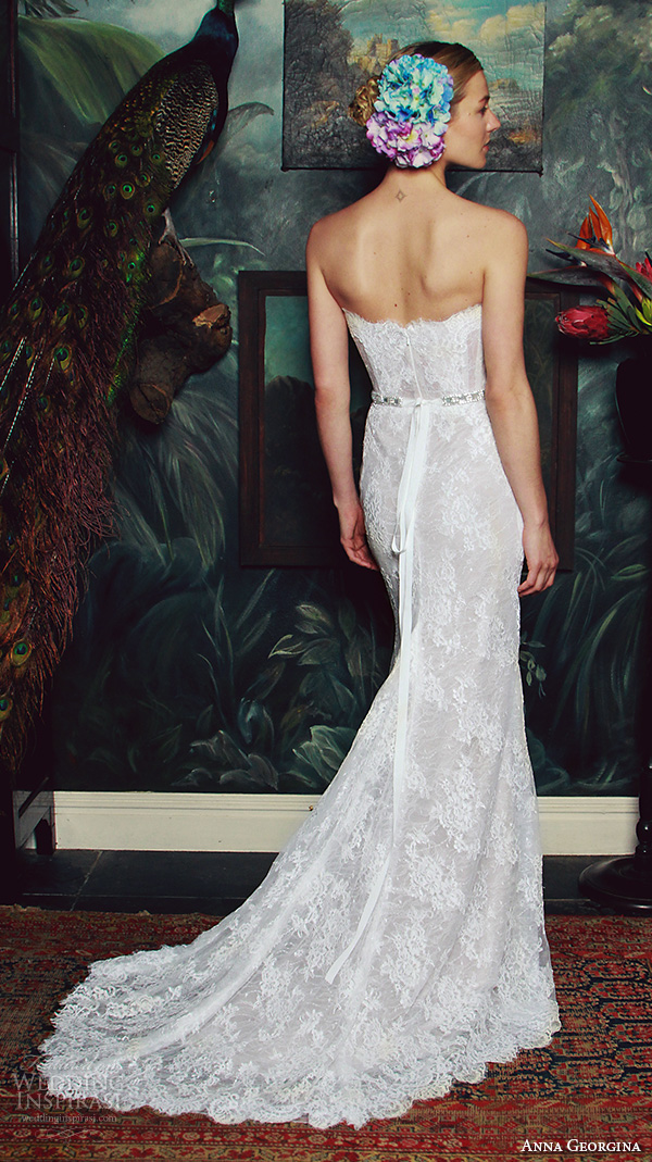 anna georgina 2015 bridal strapless straight across neckline bustier lace bodice fit to flare mermaid wedding dress isabella back view