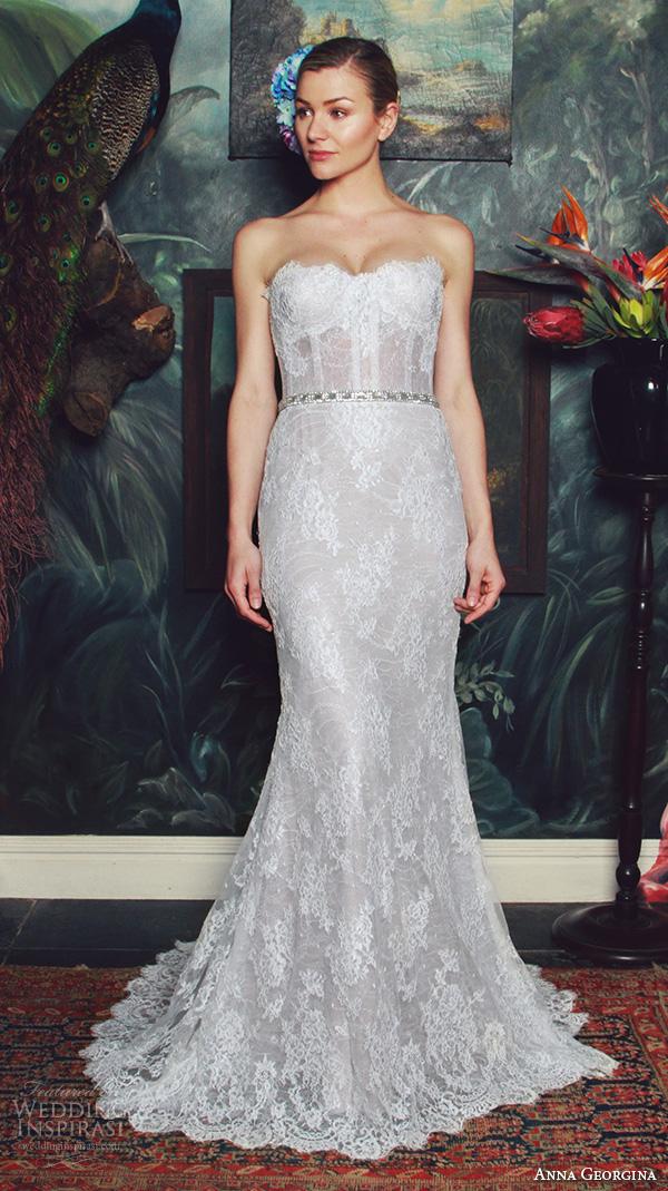 anna georgina 2015 bridal strapless straight across neckline bustier lace bodice fit to flare mermaid wedding dress isabella