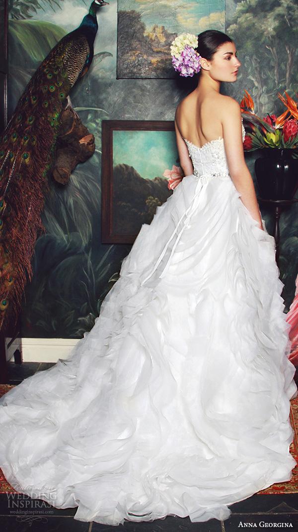 anna georgina 2015 bridal strapless sweetheart neckline beaded bodice ruffle ball gown wedding dress anke back view
