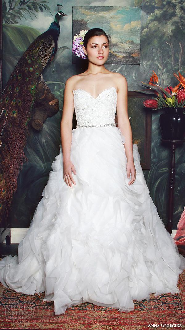 anna georgina 2015 bridal strapless sweetheart neckline beaded bodice ruffle ball gown wedding dress anke