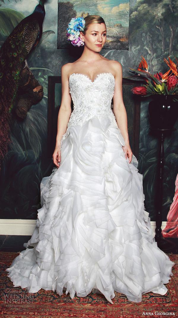 anna georgina 2015 bridal strapless sweetheart neckline ruffled a line wedding dress zane