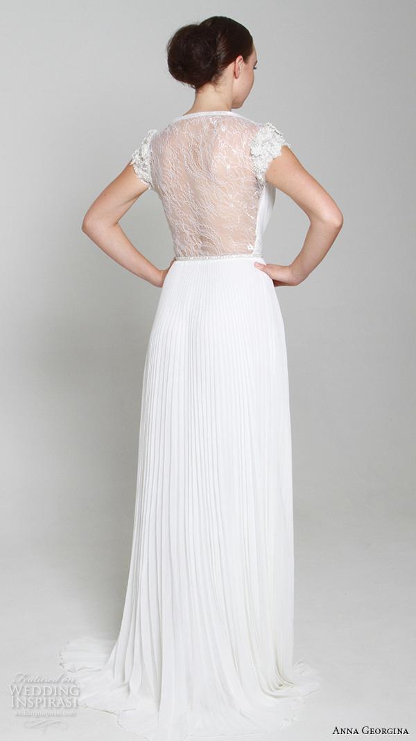 anna georgina 2015 bridal v neck cap sleeves pleated sheath wedding dress middle slit sheer back annalize back view