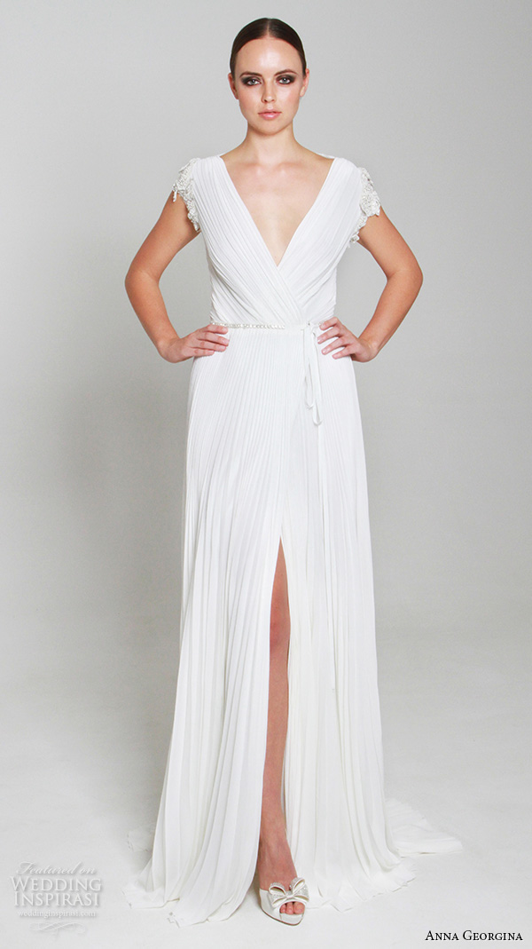 anna georgina 2015 bridal v neck cap sleeves pleated sheath wedding dress middle slit sheer back annalize