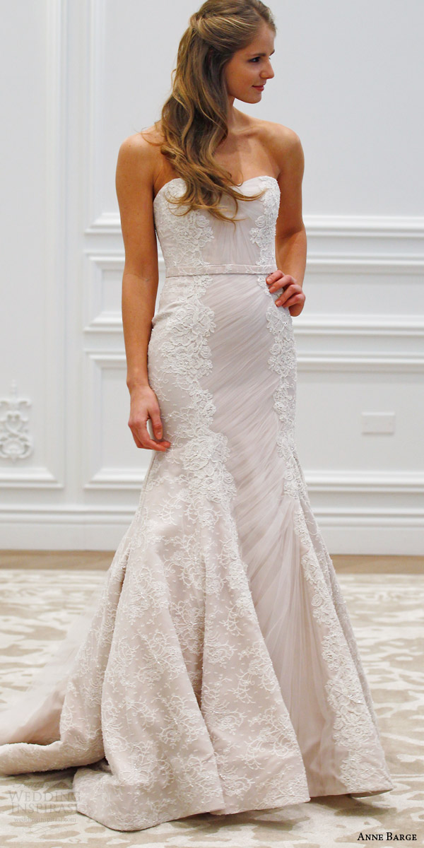 anne barge couture bridal spring 2016 luxembourg strapless mermaid wedding dress shirred tulle beaded chantilly alencon lace runway front