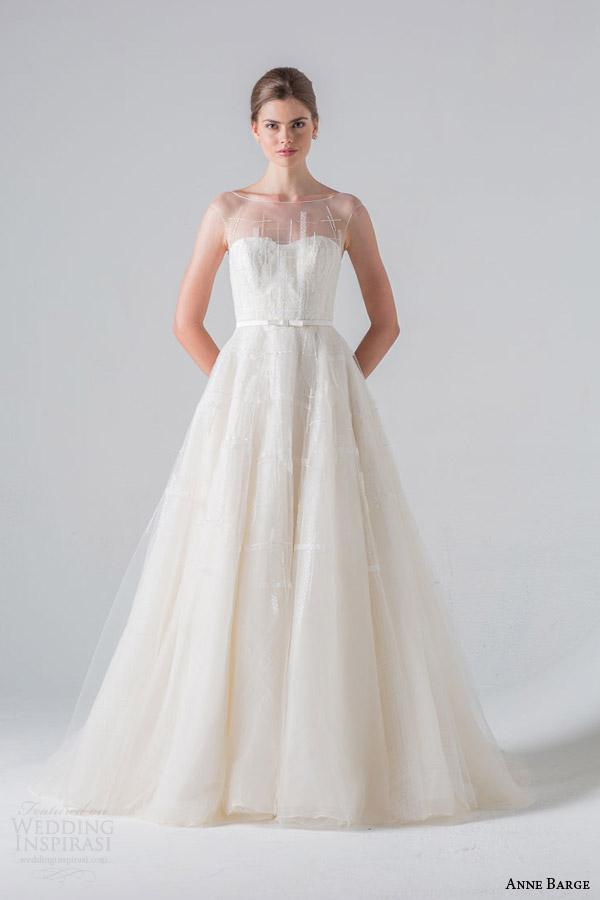 anne barge couture bridal spring 2016 promenade tulle wedding dress bateau sabrina illusion neckline plaid tulle architectural beading