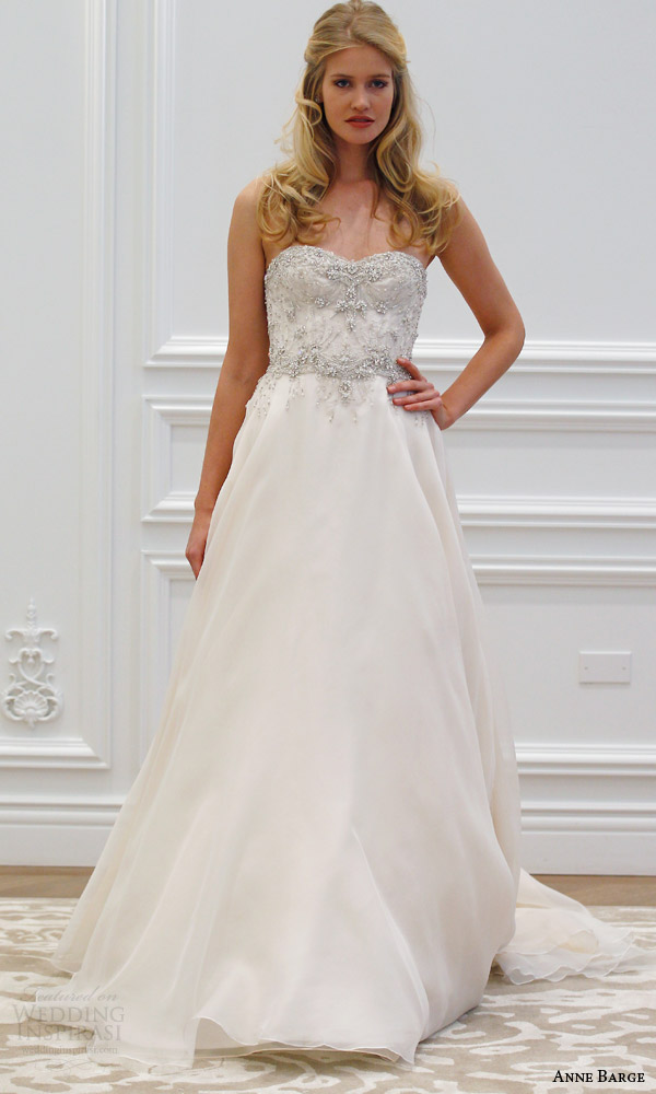 anne barge spring 2016 couture bridal reverie a line strapless wedding dress heavily beaded corseted bodice silk organza circular skirt runway