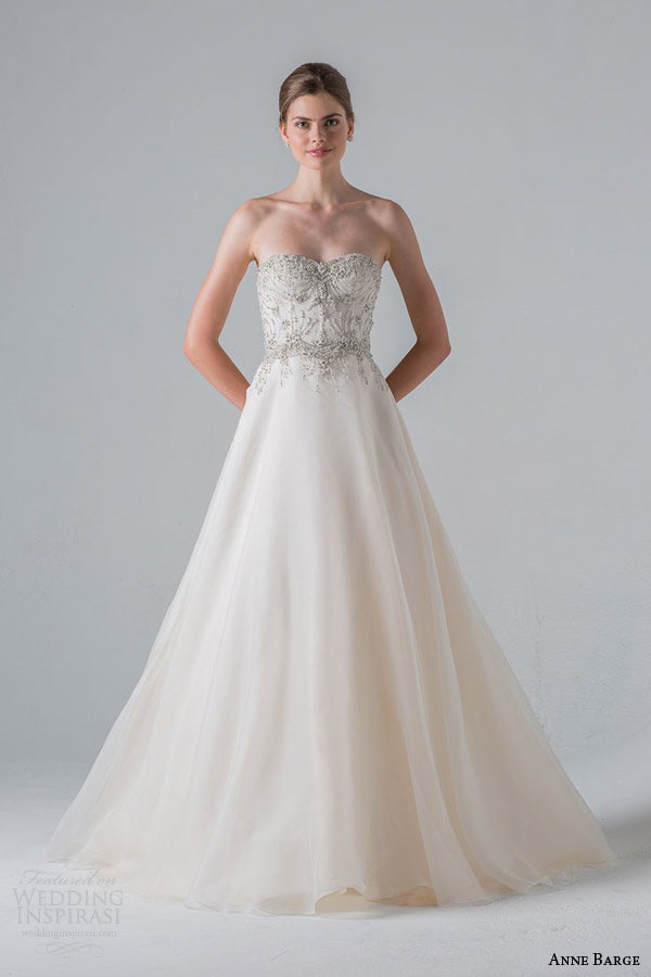 anne barge spring 2016 couture bridal reverie a line strapless wedding dress heavily beaded corseted bodice silk organza circular skirt