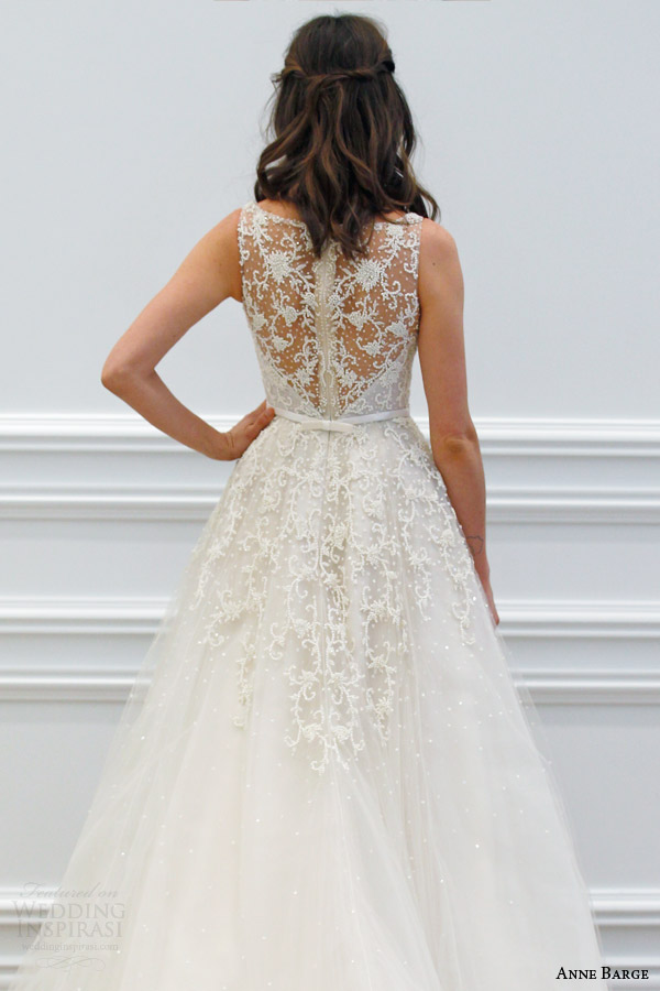 anne barge spring 2016 couture bridal versailles sleeveless a line tulle wedding dress plunging v neck tone on tone beading sheer beaded back runway back view
