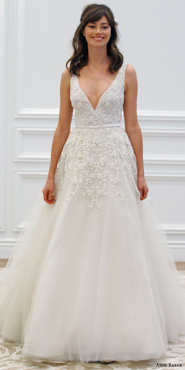 anne barge spring 2016 couture bridal versailles sleeveless a line tulle wedding dress plunging v neck tone on tone beading sheer beaded back runway